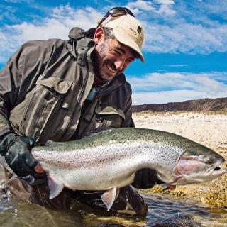 Matt Harris in the Jurassik Lake - Estancia Laguna Verde Fly fishing lodge