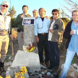 B. Garcia Calvo, Tano Baruzzi, Diego Ortiz Mugica, Raul San Martin, Mario Lussich, Arturo Dominguez y Banana en el Mel Krieger Memorial en la boca del LImay.