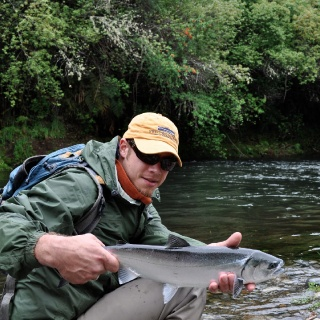 Tom Martins from NY, with a nice salmon in a small creek.