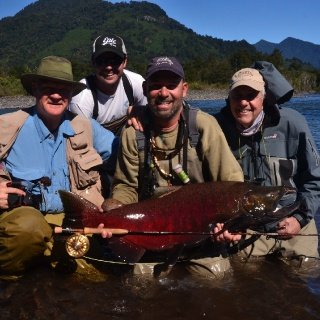 A great day and a great team! Gary Borger - Pablo Perez - Benito Perez / guide Javier Rosés.  Cantarias Lodge & Spa.