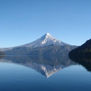 Tromen Lake, on the back the Lanin Volcano - San Huberto Lodge.