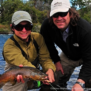 Gonzalo and Daniel, two of our guides with a colorful brown from Caleufu River.