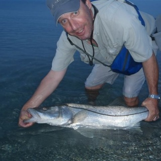 Dave releasing a nice beach Snook