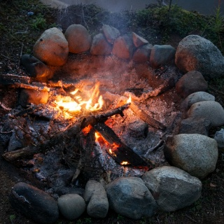Hanging out at the fire pit, resting the arms and telling fish stories no doubt...