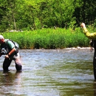 Netting a large trout in Central Pennsylvania.