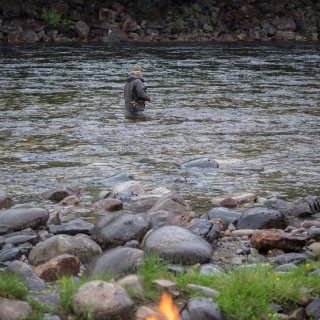 Salmon fishing and a fire - Scandinavian tradition