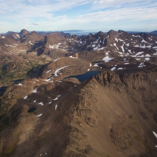 "Remote high country lakes and the mountain ridge called ""The Teeth of Navarino"".   Navarino Island, Chile"
