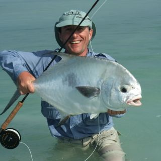 Maurizio with his first permit - Punta Allen fishing club