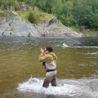 Fish on at Gaula Flyfishing Lodge beat 2 - Bruahölen