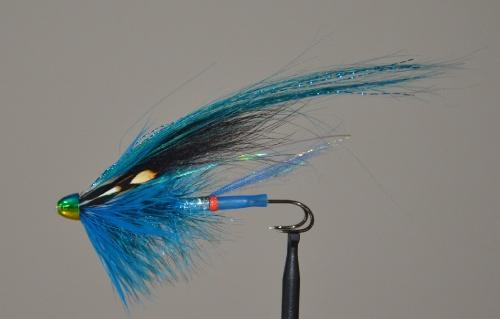Kingfisher blue tube fly