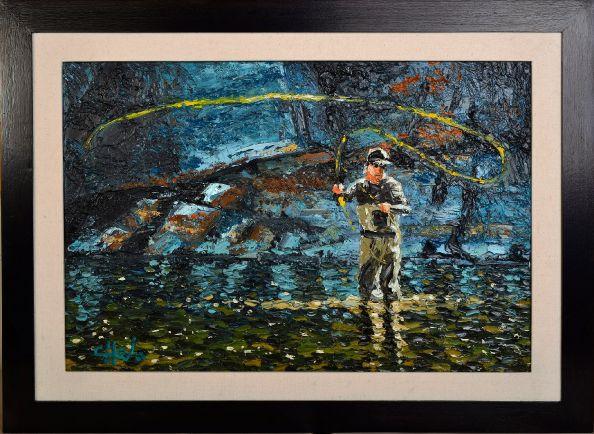 "Oleo sobre lienzo realizado con espátula. 60 cm x 40 cm. Oil on canvas, palette knife. 24 x 16 "". #OilPainting #impressionism #FlyFishing #FlyFishingArt #CheloArt #Impresionismo #Oleo #Arte #OleoConEs"