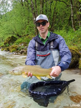 Jeremiah had only a half-day on disposal, and it seems it was more than enough to bag a nice marble trout from the fantastic Soča River
