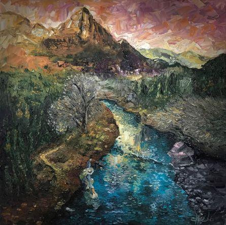 Oil on canvas. Palette knife. 31' x 31'. Óleo con espátula sobre tela 80 x 80 cm.